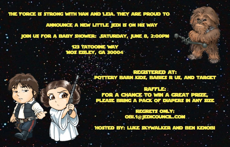 Items similar to Star Wars baby shower invitation ...