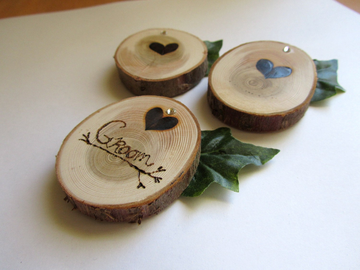 Rustic Fairytale Wedding Boutonniere Set of 3