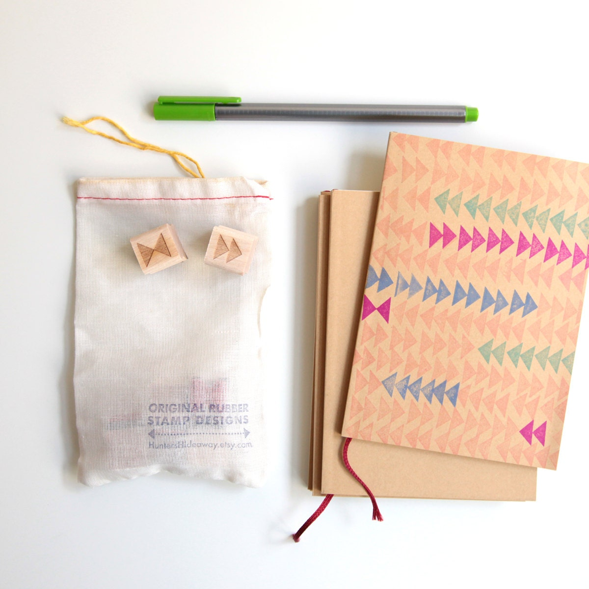 DIY Notebook Kit with geometric rubber stamps and blank sketchbook