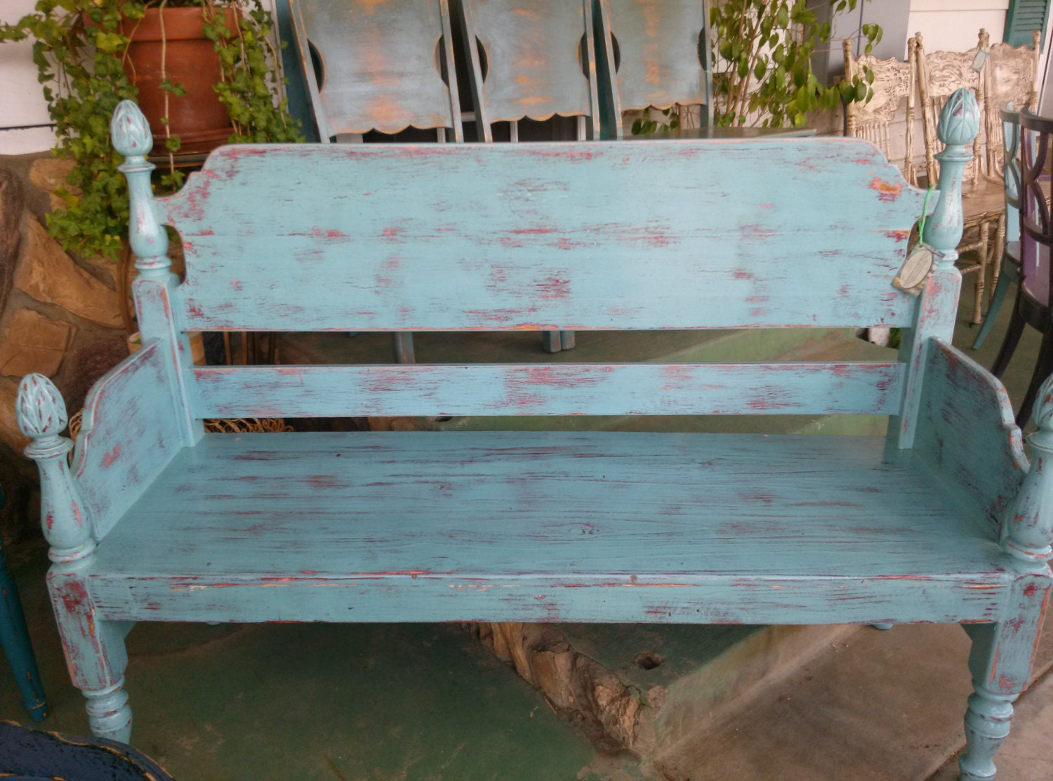 Unique Charming  Blue Country Style Bench - AlexandriasBenches
