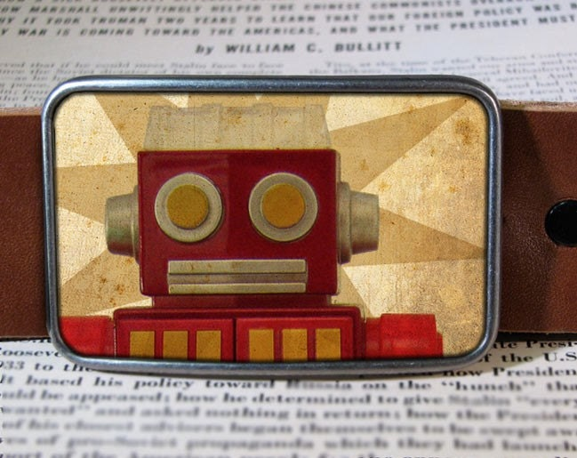 robot belt buckle, vintage inspired