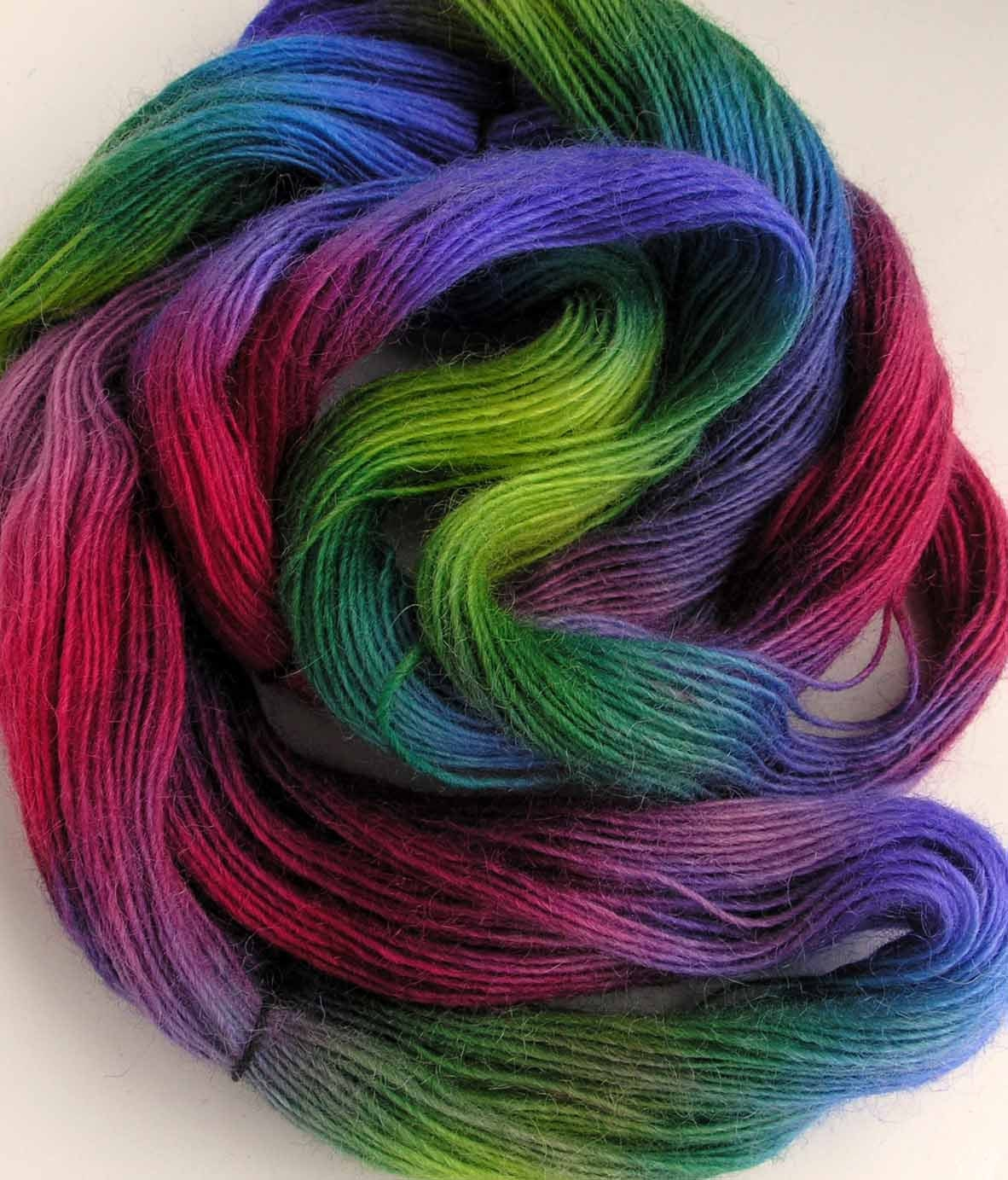 Hand Dyed Icelandic Wool Yarn Over the Rainbow by FiberFusion