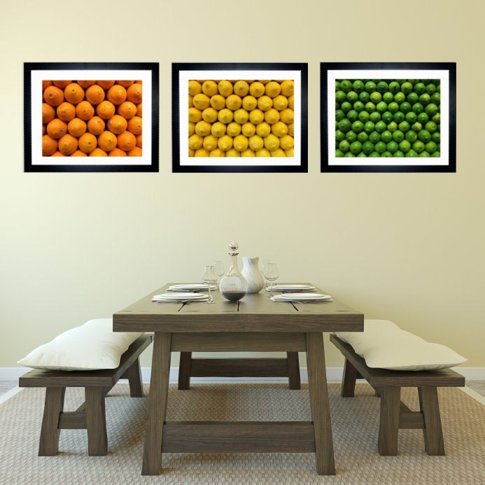 Kitchen Decor, Bar Decor, Fruit Print, Citrus Print, Set of 3 Fruit Pictures, Orange  Lemon Lime Art Print - jessicareisspix