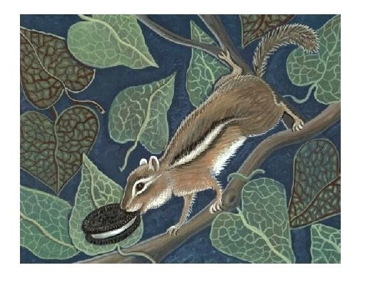 CHIPMUNK w Oreo Cookie SIGNED ARTIST PRINT Cute Rodent