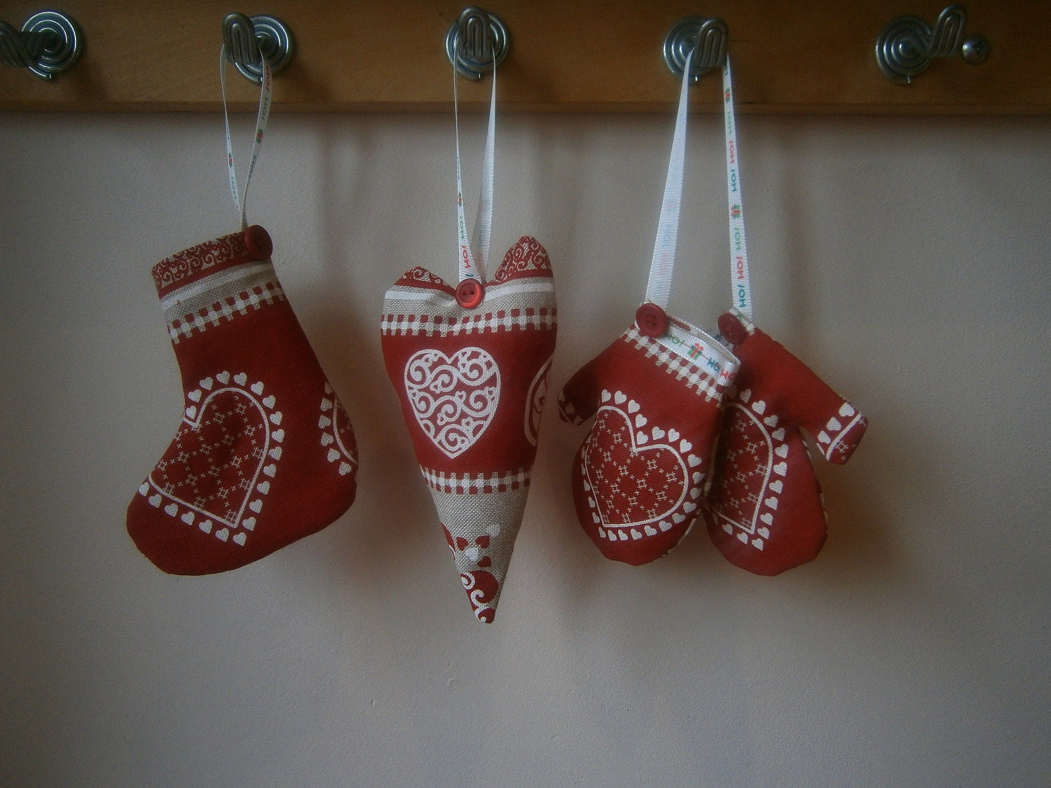 set of 3 scandinavian christmas decorations.