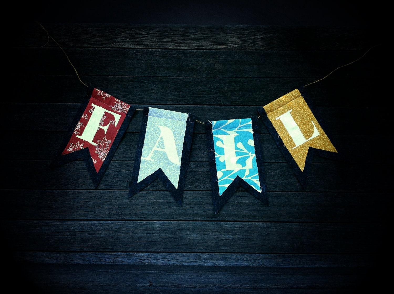 """FALL"" autumn felt flag banner"