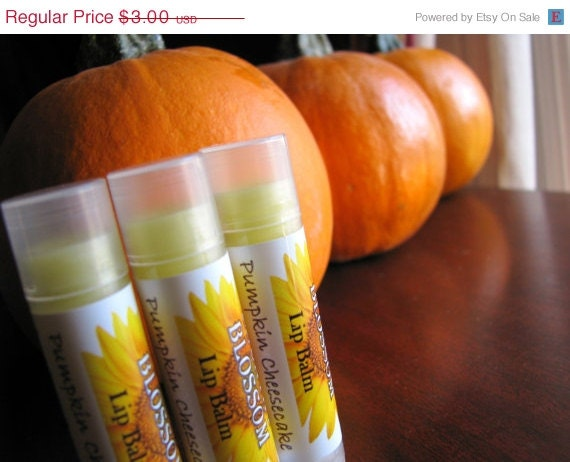 ON SALE Pumpkin Cheesecake Flavored Natural Beeswax Lip Balm - Made with Olive Oil, Coconut Oil and Vitamin E Oil