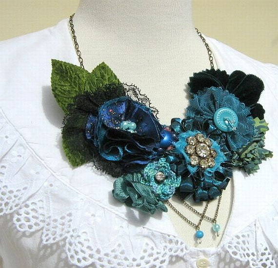 Sing the Blues Flower Bib Statement Necklace