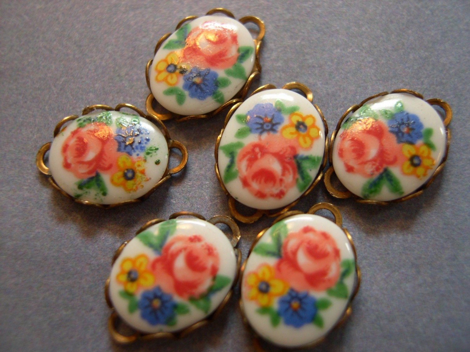 Vintage Rose  Glass Cabs 6 - 10mm x 8mm
