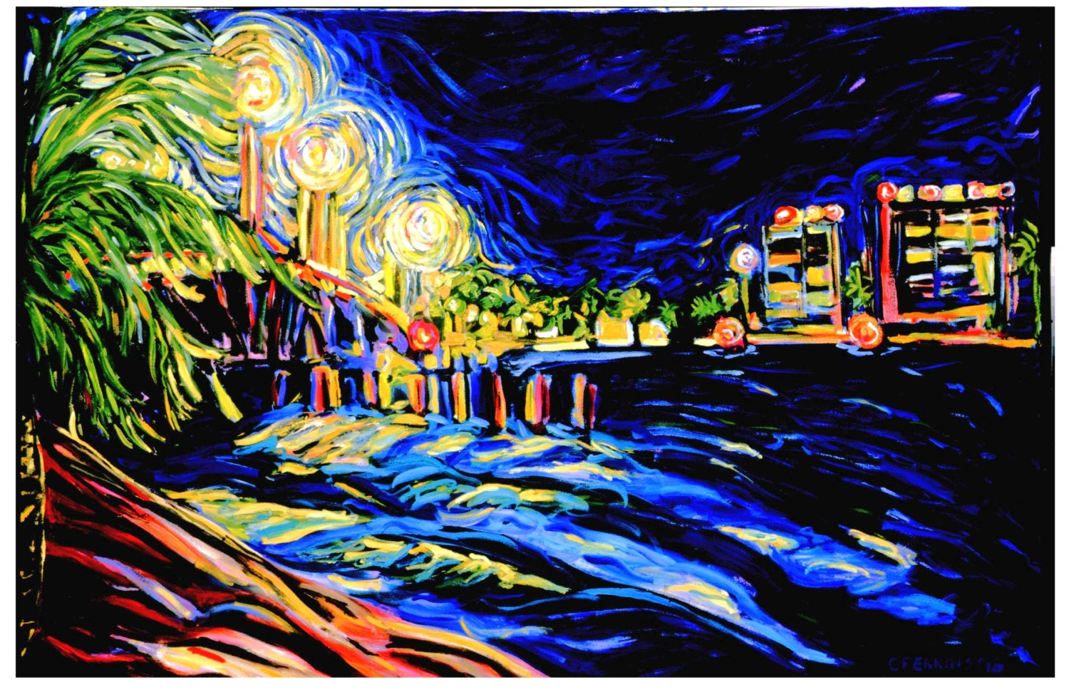 Bridge at Night 5x7 Notecard - cperkinsart
