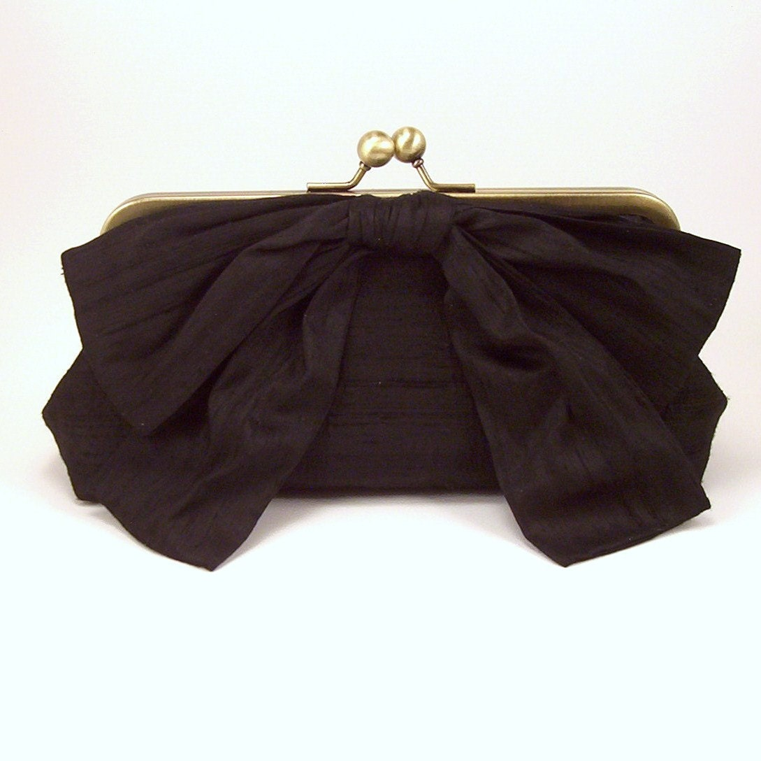 Big Bow Baguette Clutch - Black Dupioni Silk