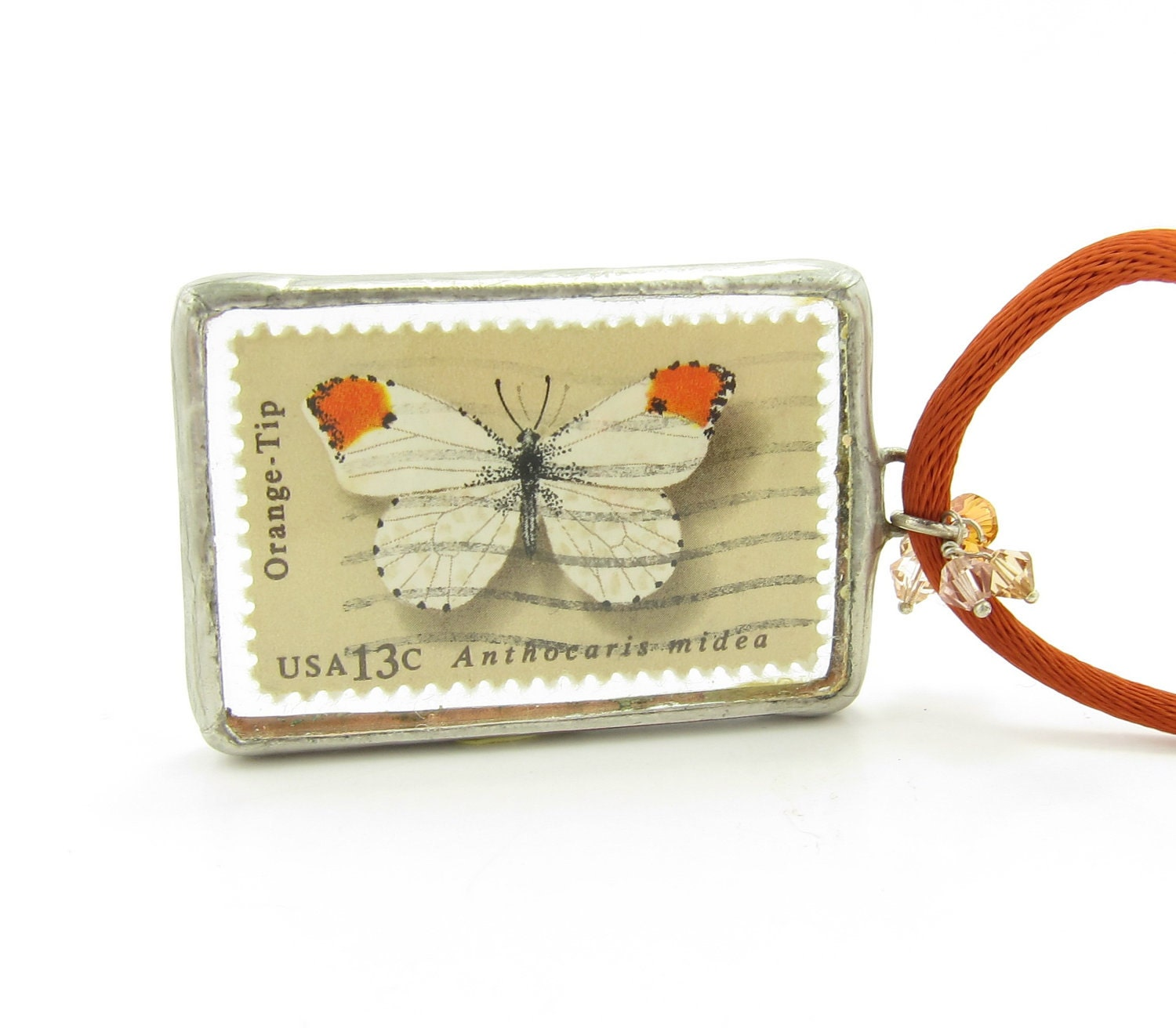 Postage Stamp Necklace Butterfly Soldered Pendant - Orange-Tip & Checkerspot Butterflies - BrownEyedRose