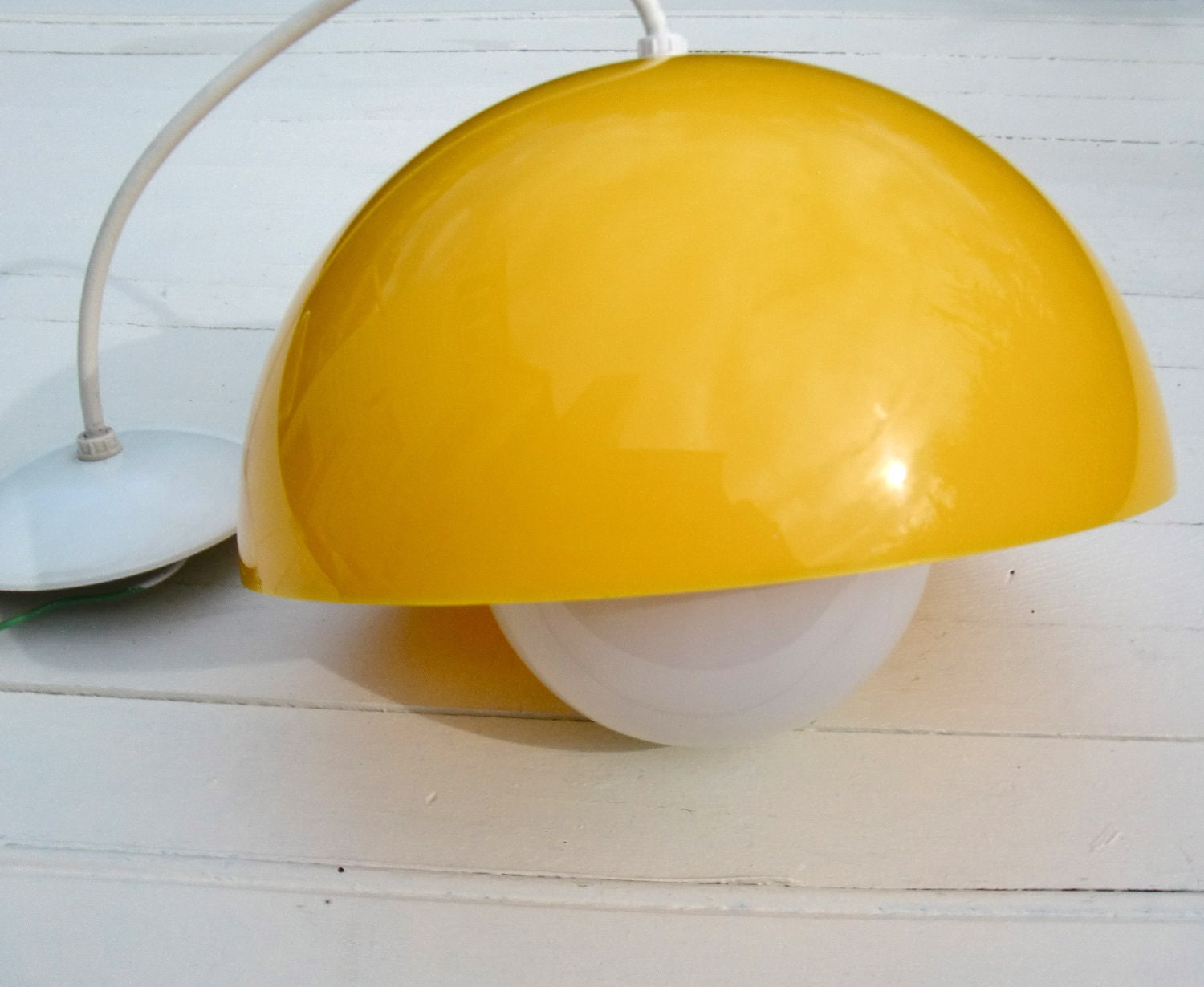 Vintage Bright Yellow Mushroom Dome Pendant Lamp - Acrylic Dome Shade
