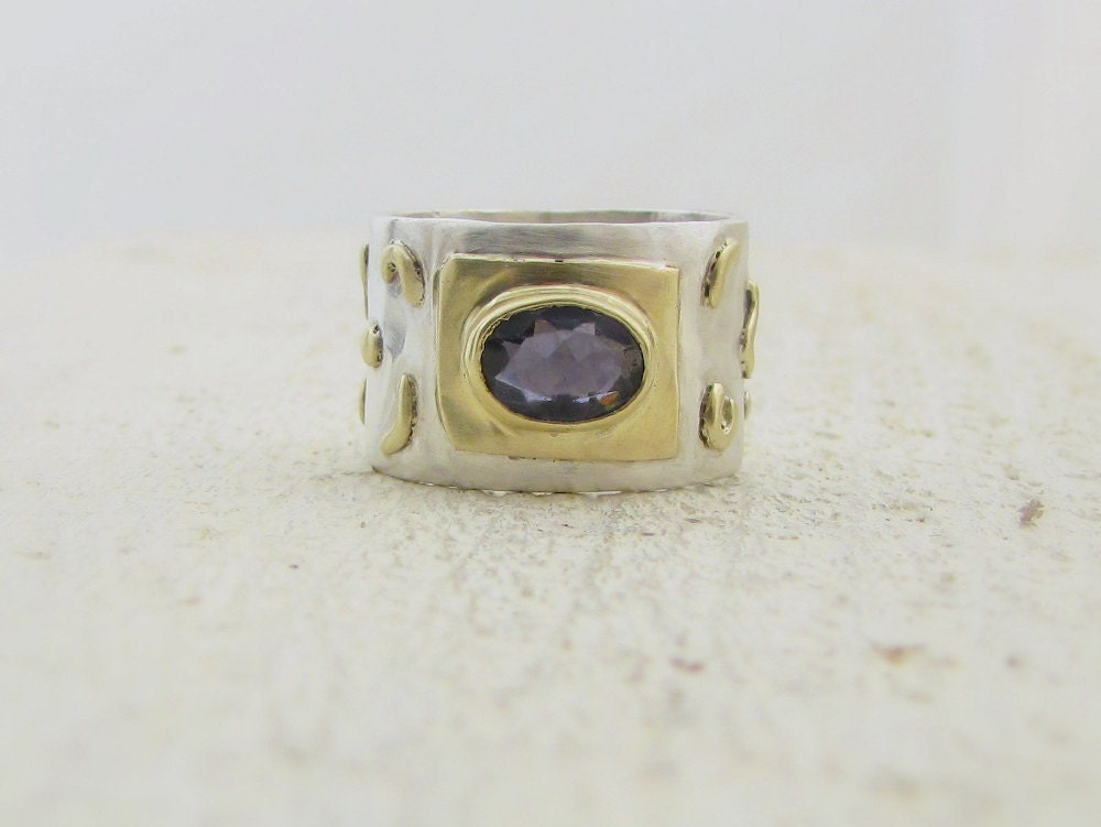 Iolite Ring, Iolite and  14k Solid Gold on Silver Ring - Omiya