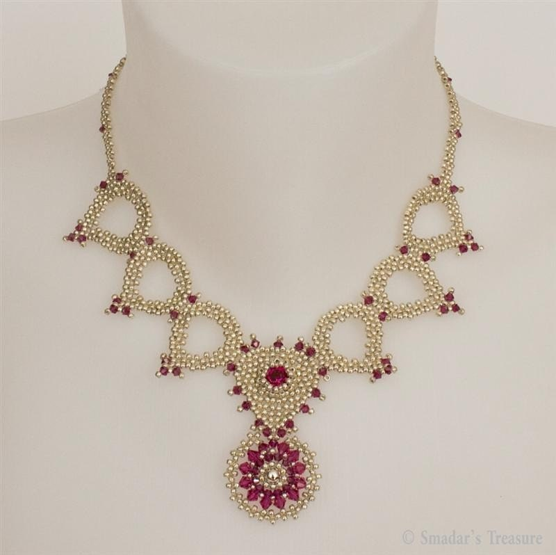 Silver and Fuchsia Necklace with Crystals