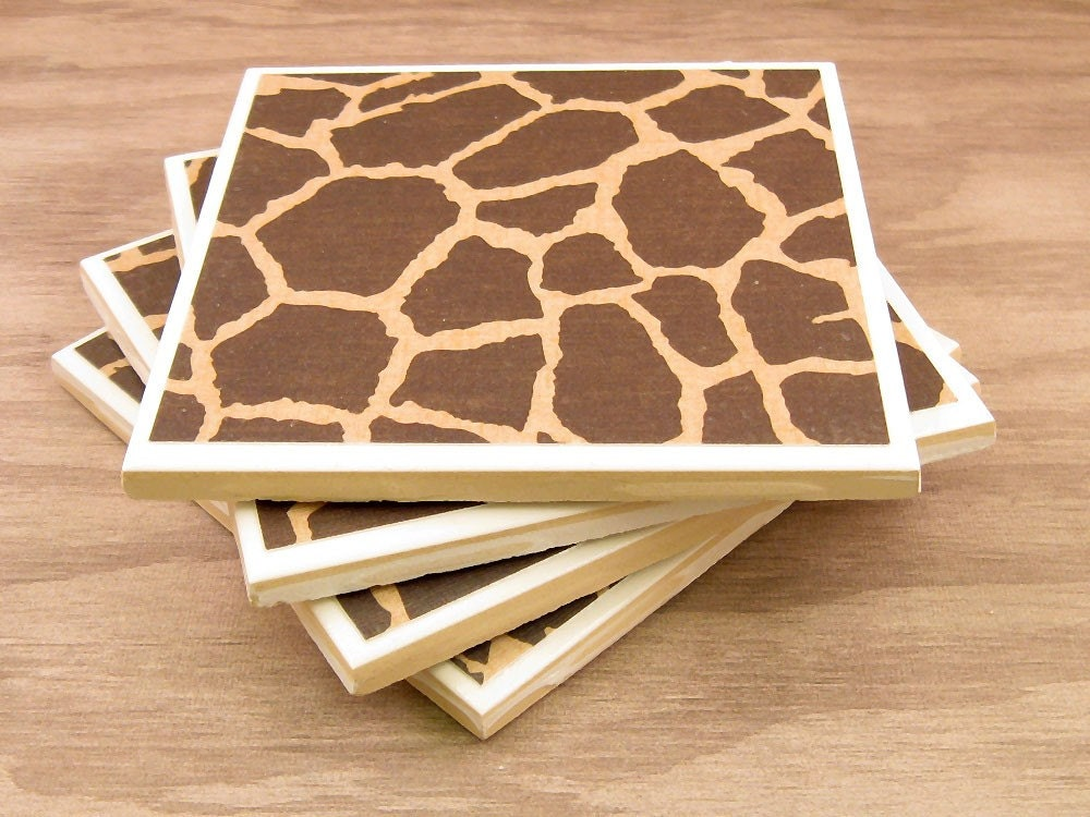 Coasters Handmade from Tiles - Giraffe
