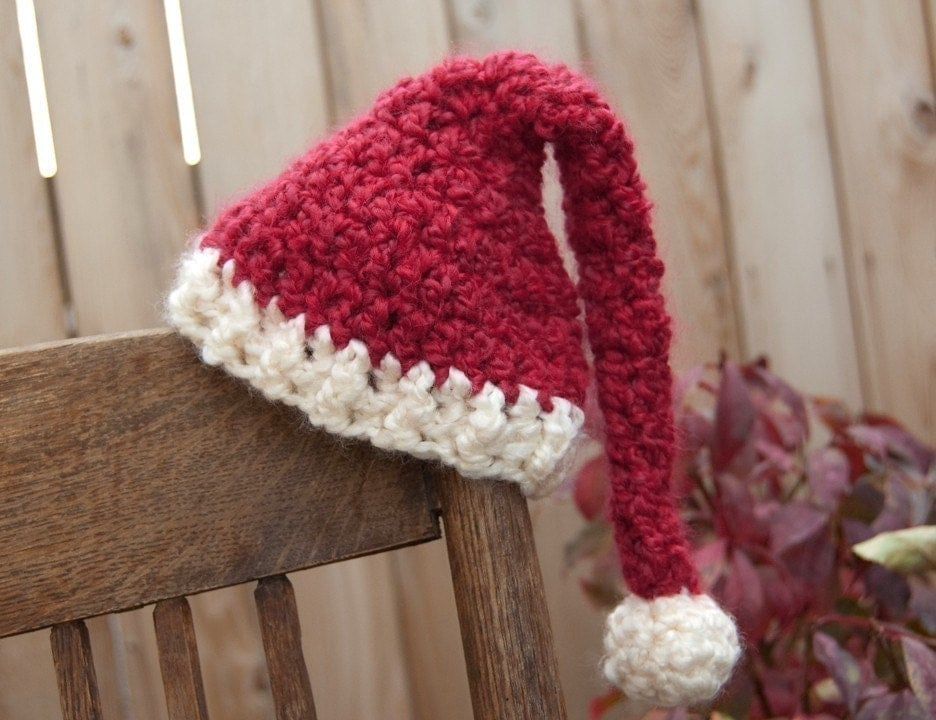 Bend Beanies Christmas Santa Hat, Hand Crocheted Newborn 0 - 3 months / Holiday photography prop