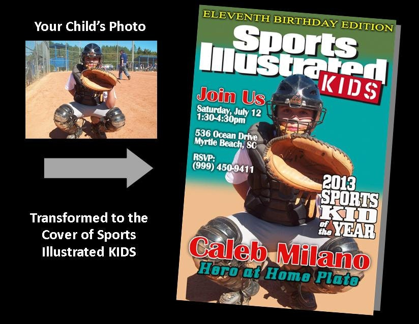Printable personalized sports illustrated magazine cover birthday