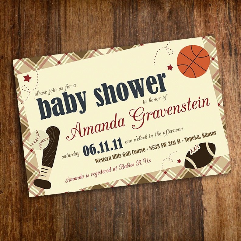 our little mvp vintage sports baby shower invitation