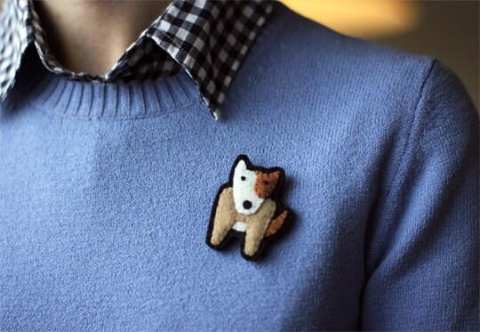 Bull Terrier Dog Brooch Felt Pin - Winston