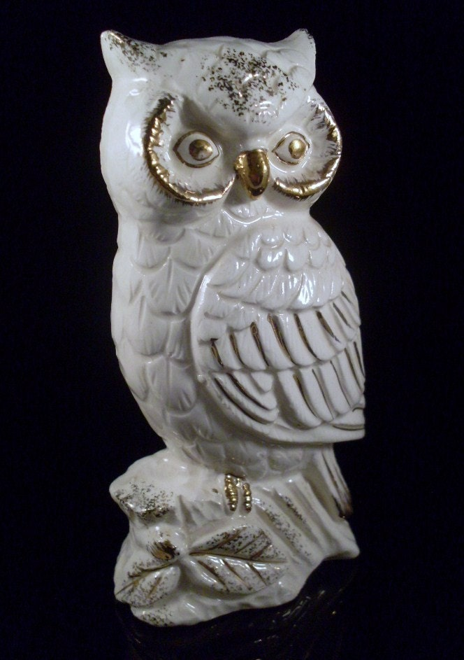 Items Similar To Vintage White And Gold Ceramic Owl