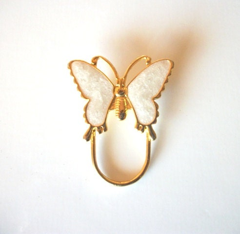 gold enameled white butterfly eyeglass holder pin by