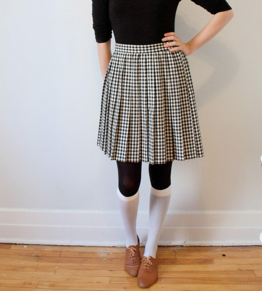 vintage black and white checkered pleated skirt - L