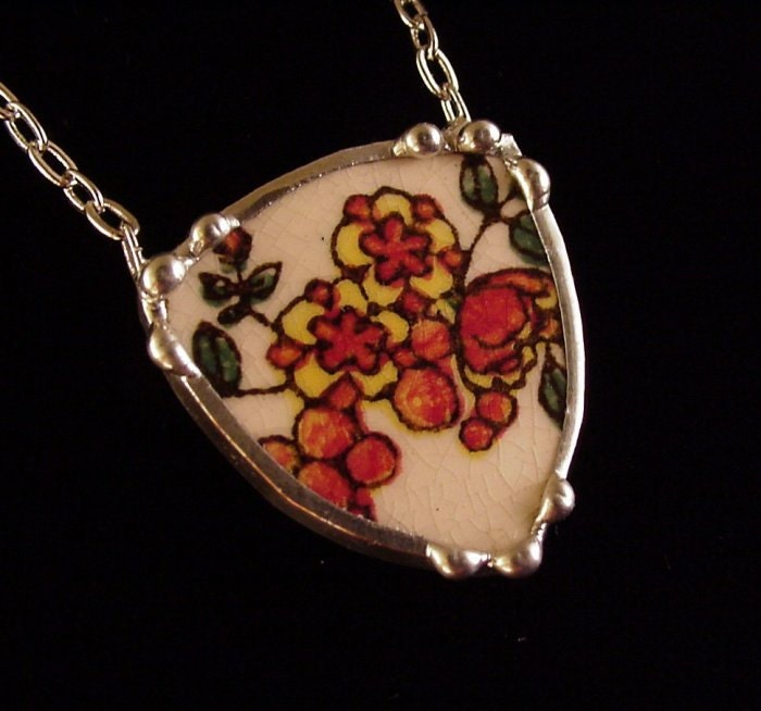 Antique floral transferware autumn tones broken plate broken china jewelry necklace