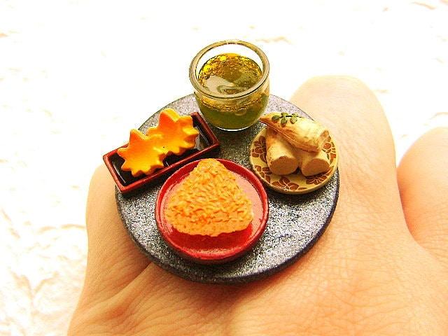 Традиционная Японская кухня Вегетарианская кольцо зеленого чая