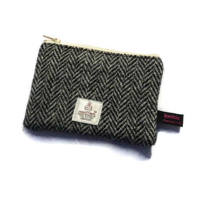 grey herringbone Harris Tweed coin purse change purse tweed gift scottish gift man gift fathers day