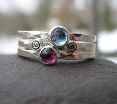 Mothers Stackers . sterling silver and birthstone stacking rings with personalized inscriptions . made to order in whole, half or quarter sizes