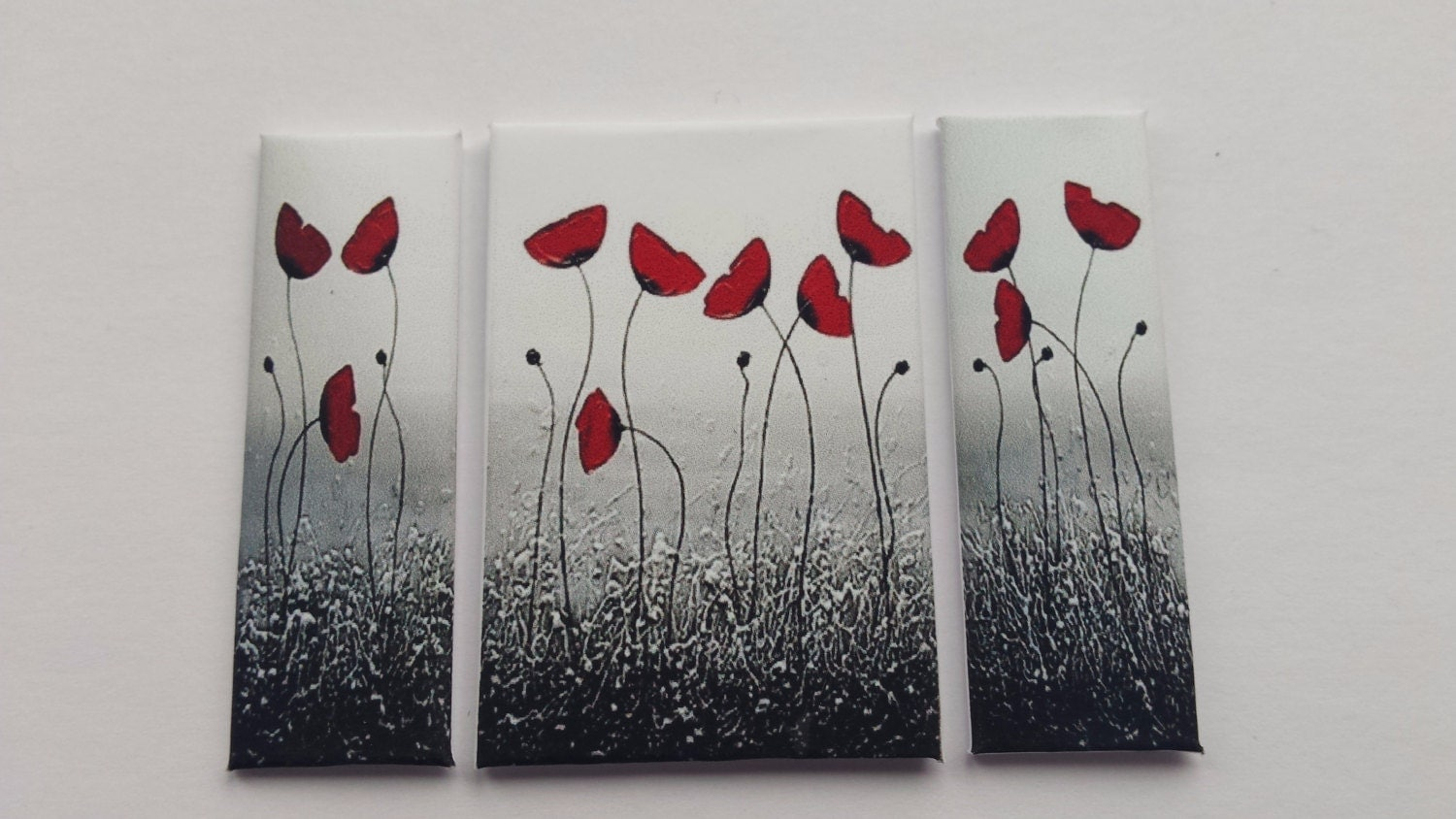 Handmade miniature dolls house accessory canvas style wall art picture poppy field triptych