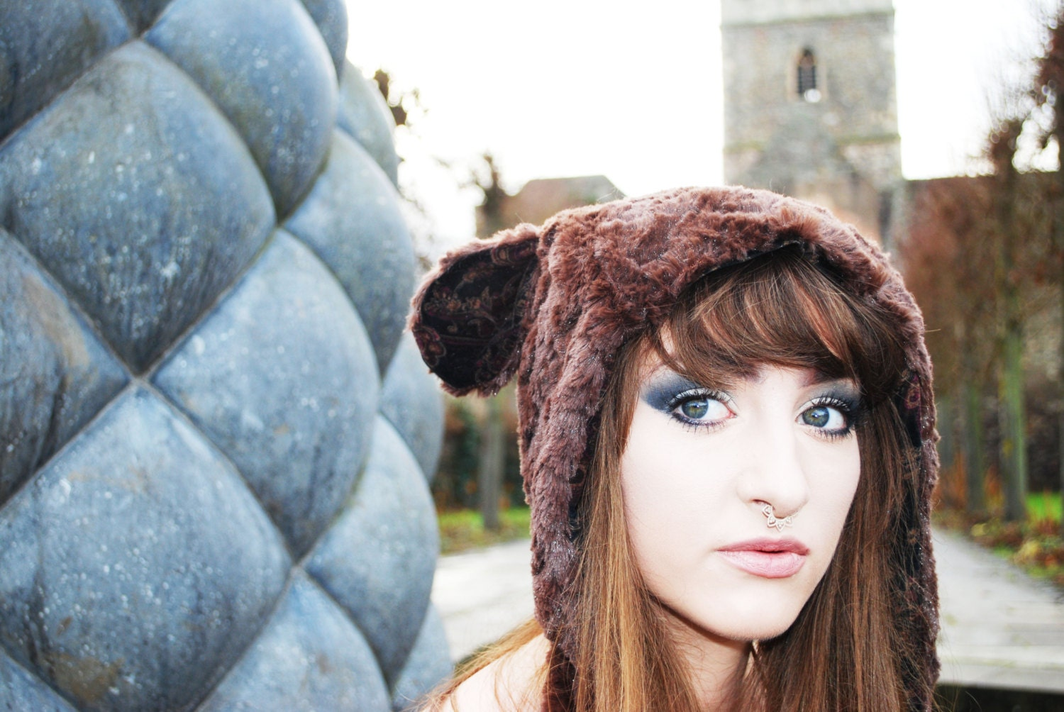 SUPER SALE!!! Animal hat.Brown fur hat.Bear hat.Fluffy animal hat.Hat with ears. Festival clothing. Festival hat. Burning man. Cosplay.