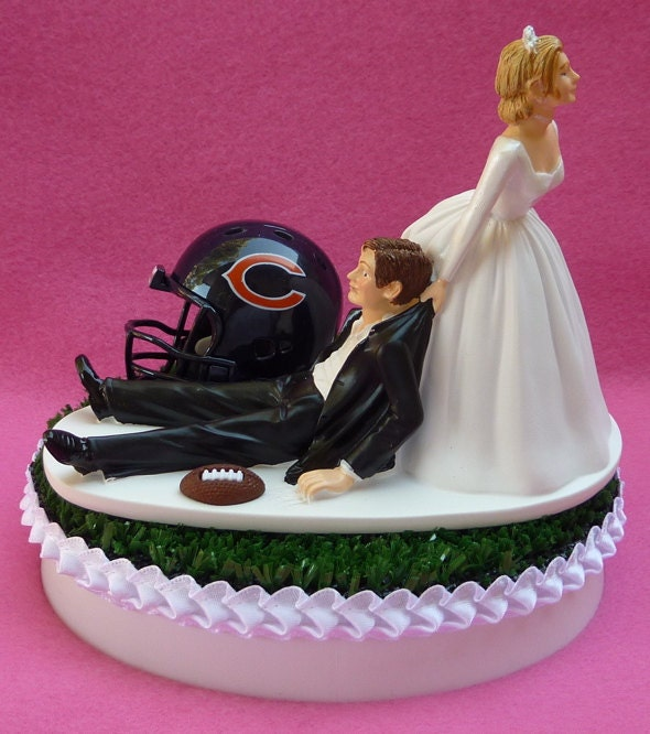 Wedding Cake Topper Chicago Bears Football Themed Sports Turf Topper w/ Garter, Display Box