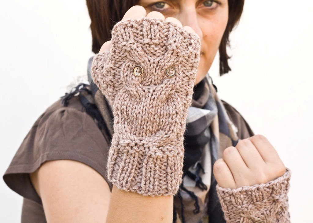 Owl fingerless gloves , mittens in beige