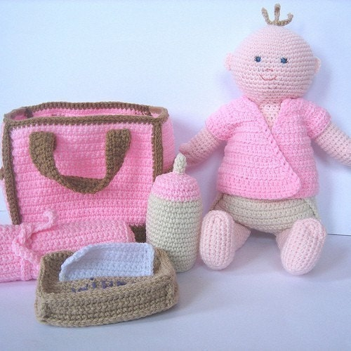 Crochet Pattern For Doll Diaper : Crochet Pattern Baby Doll with Diaper Bag by ...
