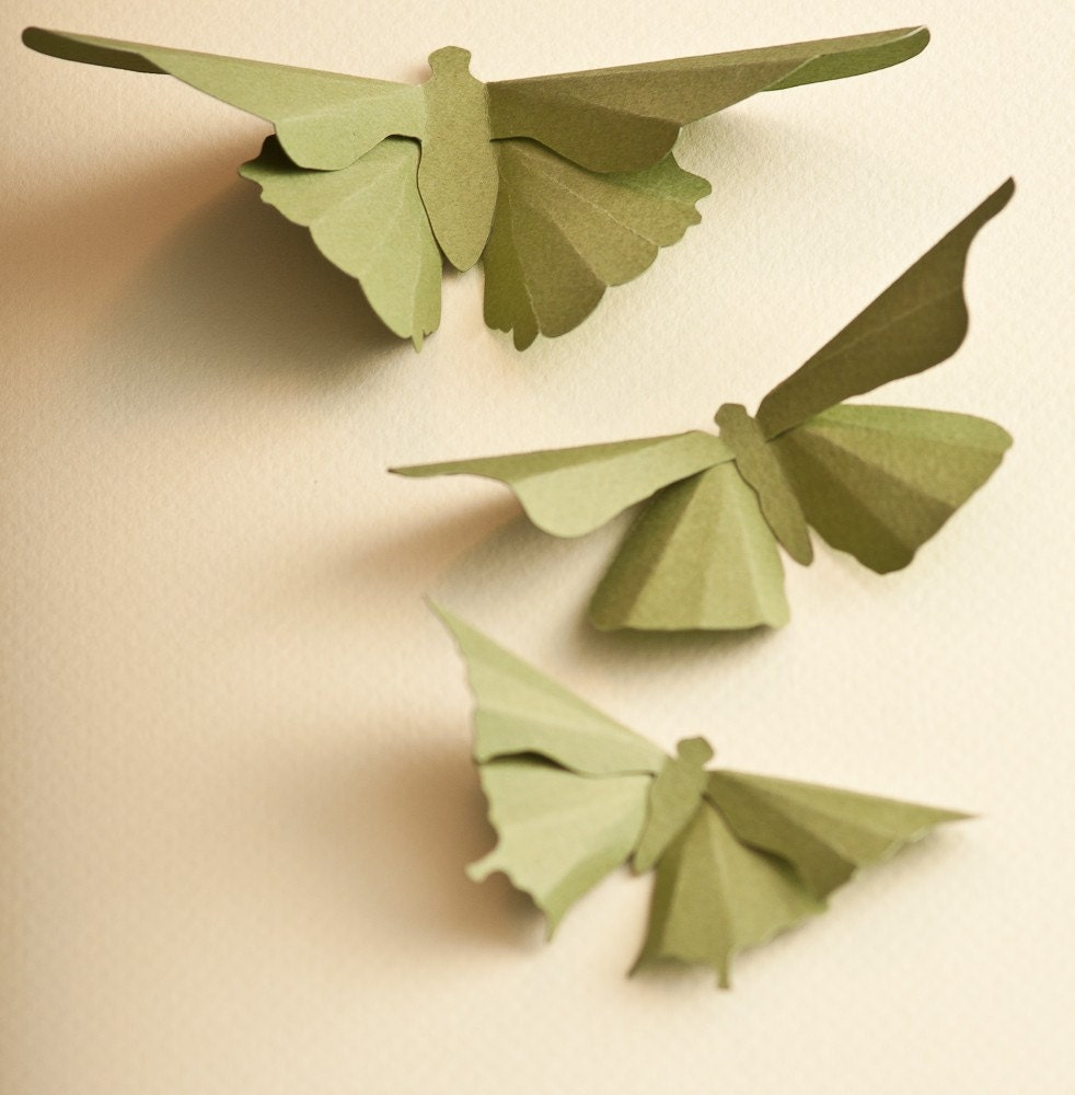 3D Wall Butterflies, 10 Olive Green Butterfly Silhouettes for Girls Room, Nursery, and Home Art Decor - hipandclavicle