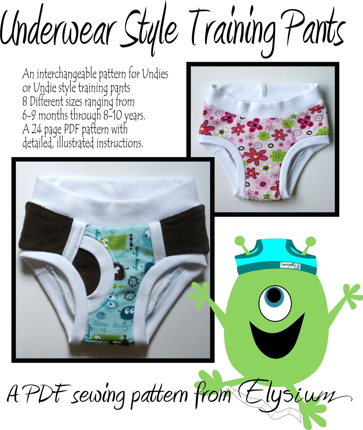 Underwear Style Training Pants PDF Sewing Pattern