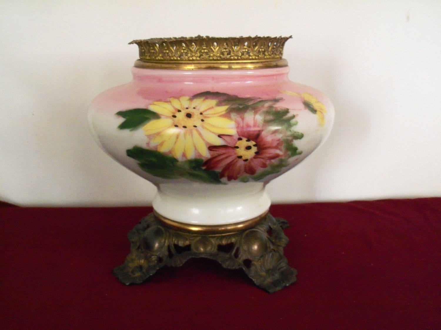 Items Similar To SALE Antique LAMP BASE, Hand-Painted Oil