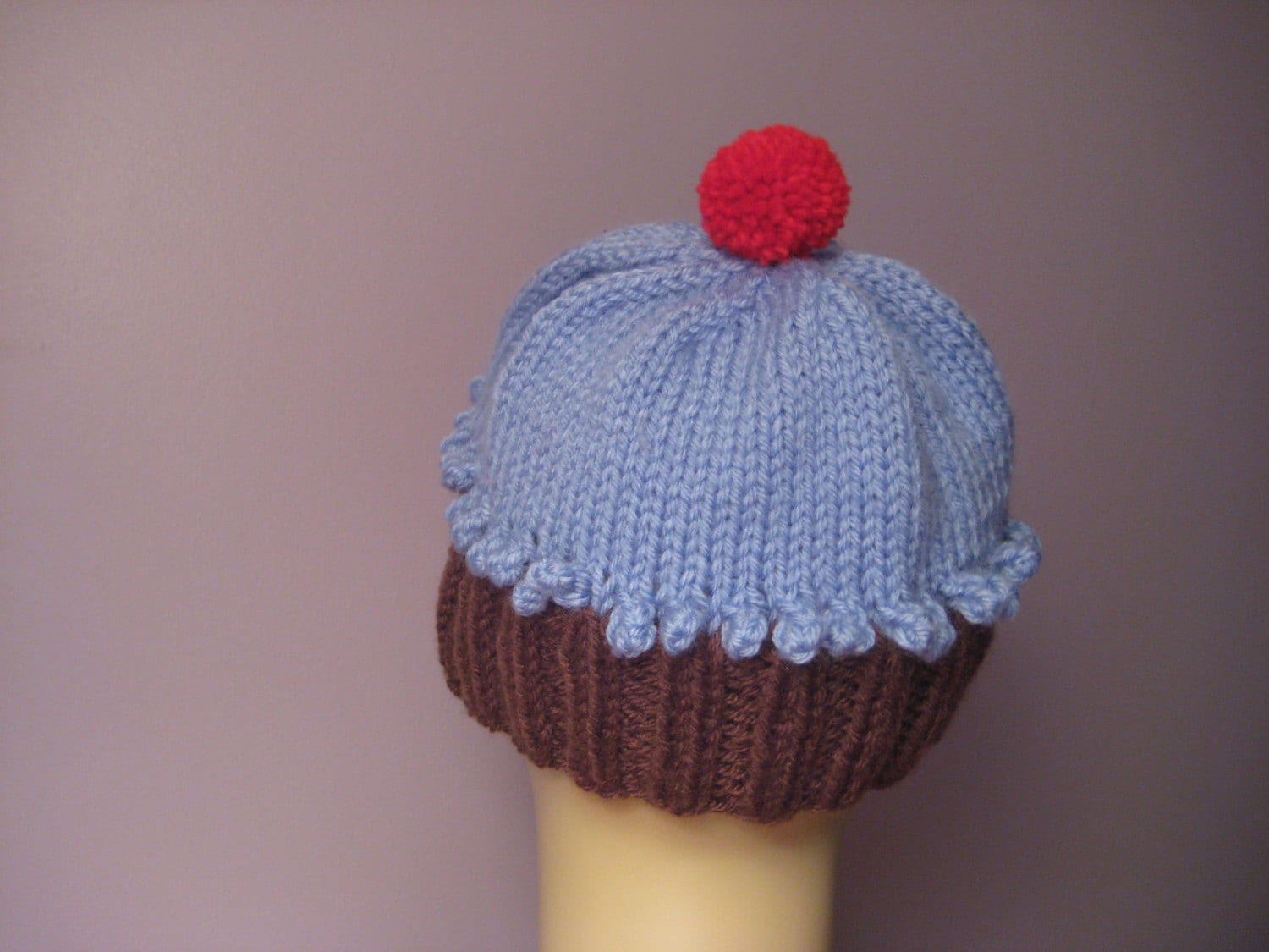 Blue Cupcake Hat with a Cherry on Top