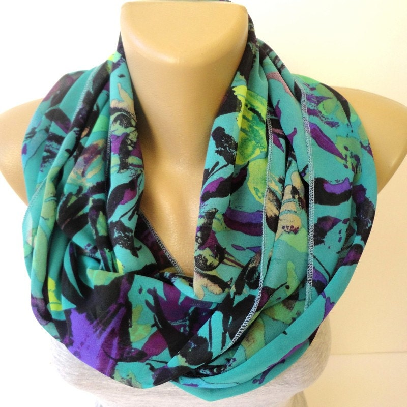 items similar to colorful infinity scarf chiffon