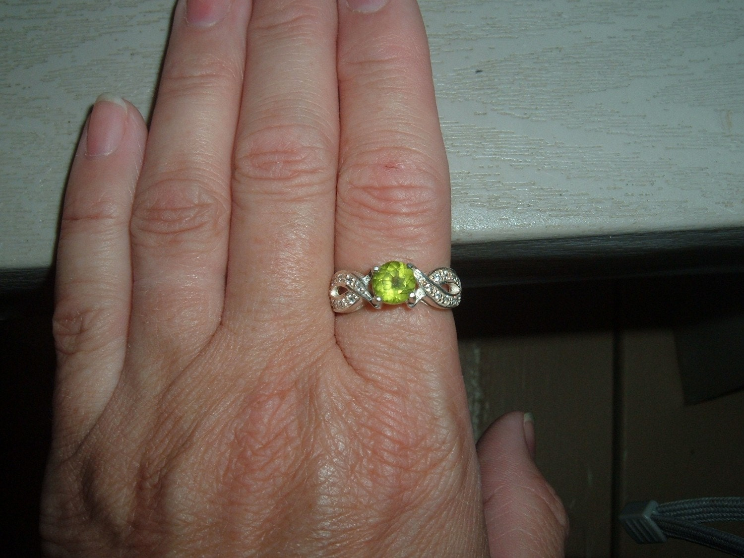 Large Peridot and CZ Bow Tie Ring