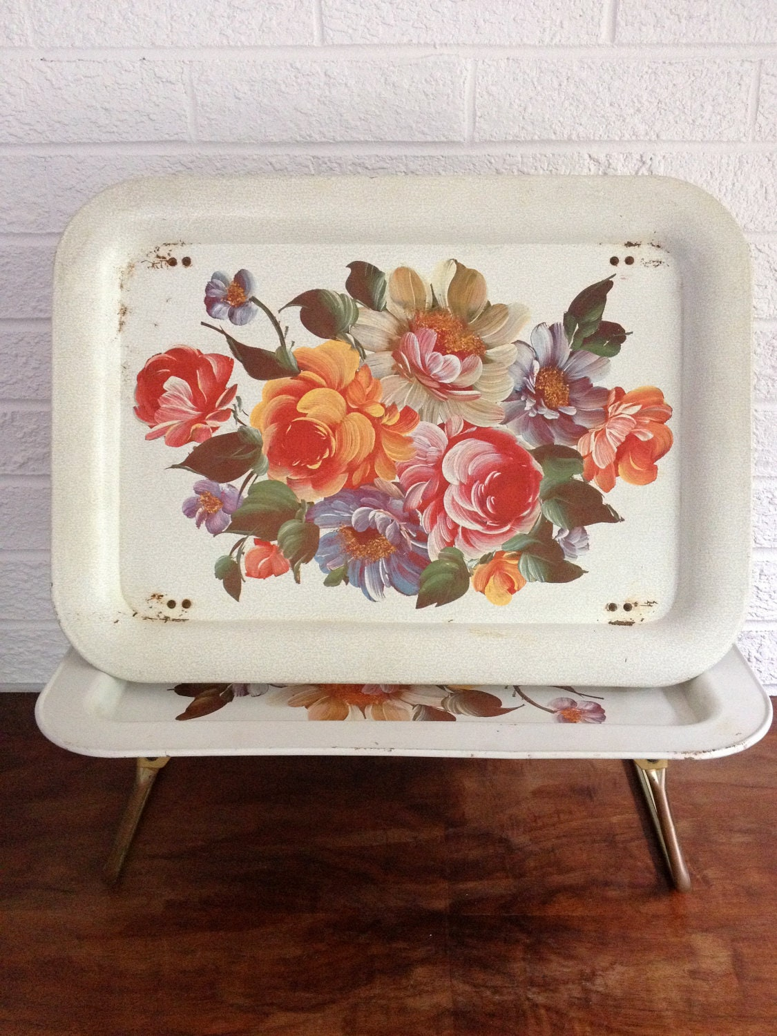 Vintage Floral Painted Serving/ Breakfast in Bed / TV Tray