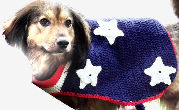 Custom Crochet Dog Sweater for 4th of July