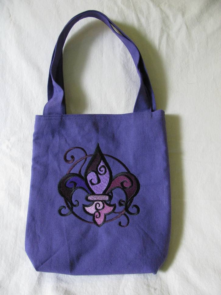 CLEARANCE - Small Purple Tote  Bag  Purse with Machine Embroidered ...