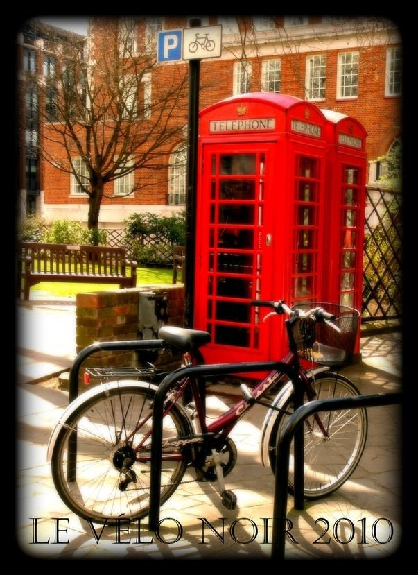 London Calling--Two Phone Boxes and a Bicycle, 5x7 MATTED fine art photograph (fits standard 8x10 frame)