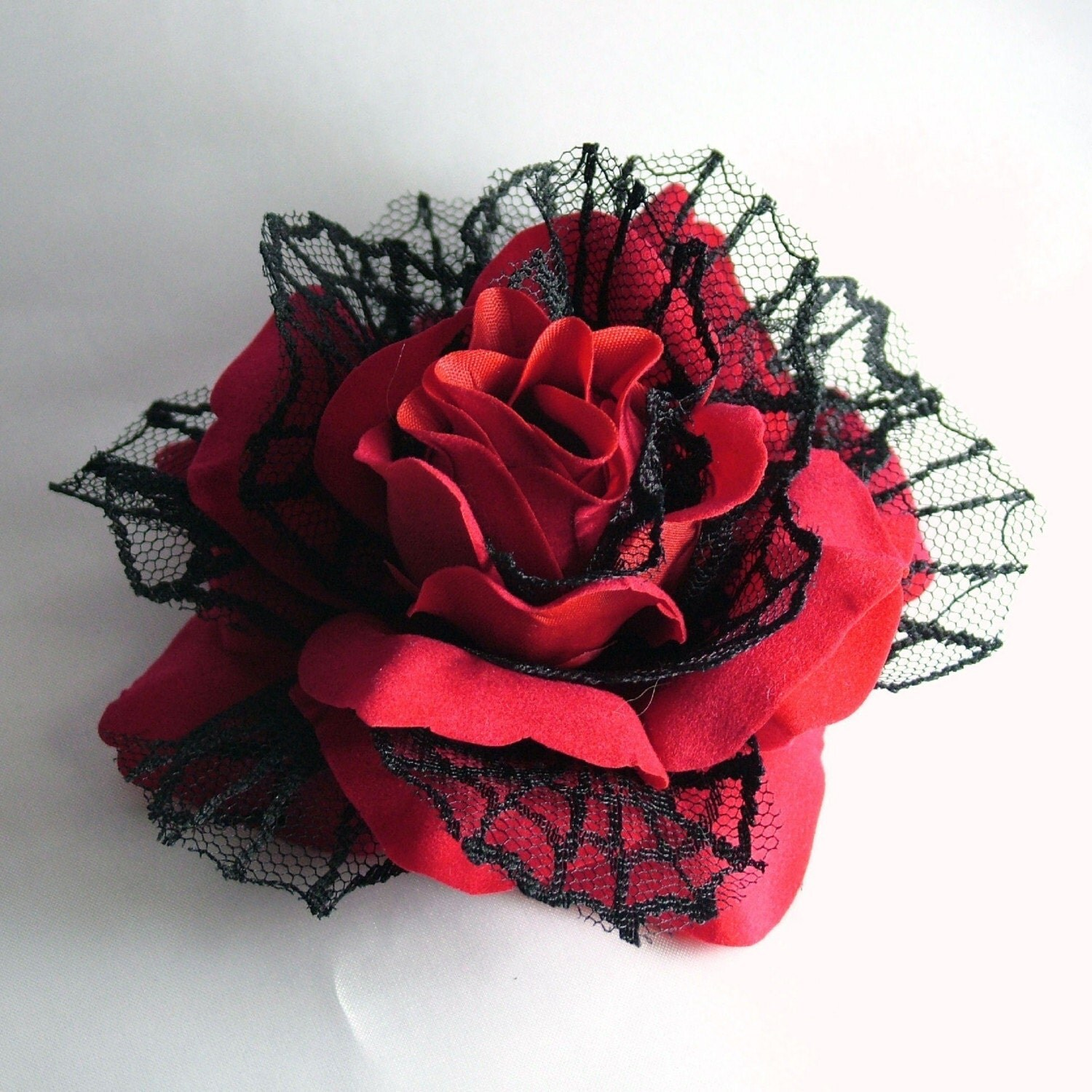 SEXY Big Red Hair Rose Flower with Black Net Spider Web Petals