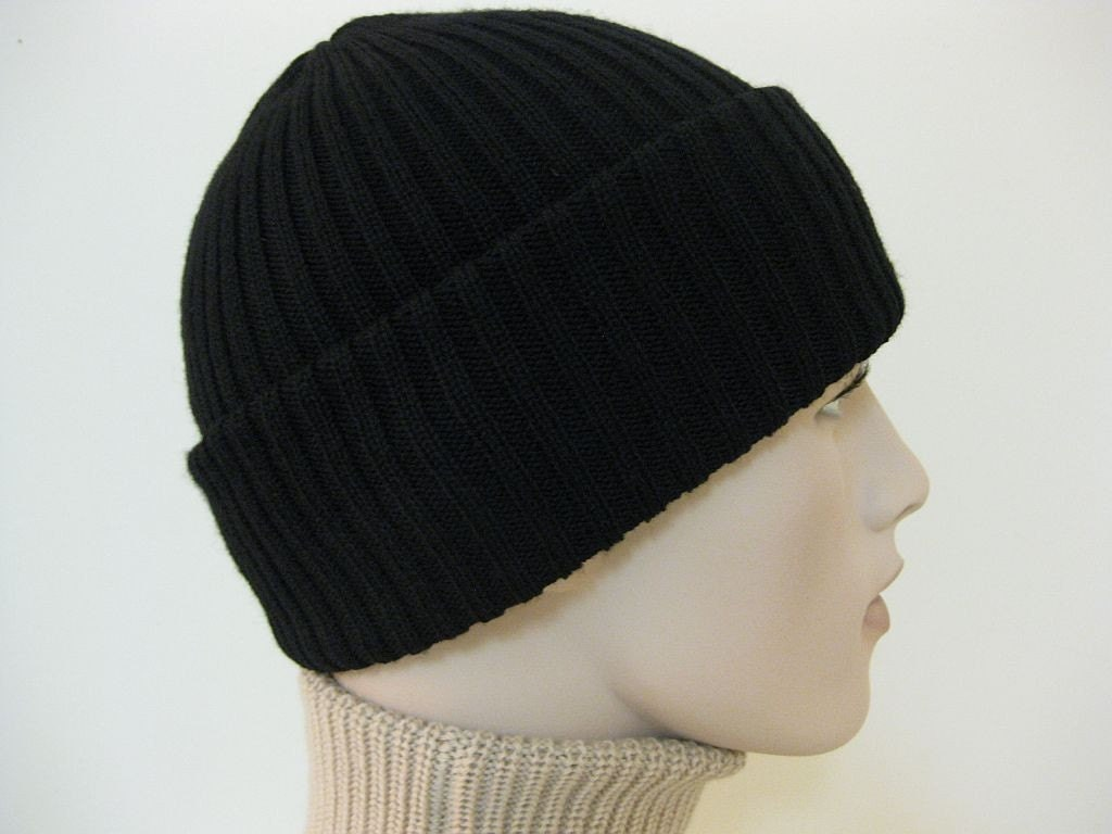 Beanie hat skull cap Double Layer rib knit Reversible Merino wool Black