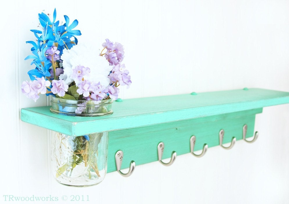 Prim Wall Shelf with 5 Coat Hooks and Mason Jar Vase in shabby Sea Foam- TRwoodworks