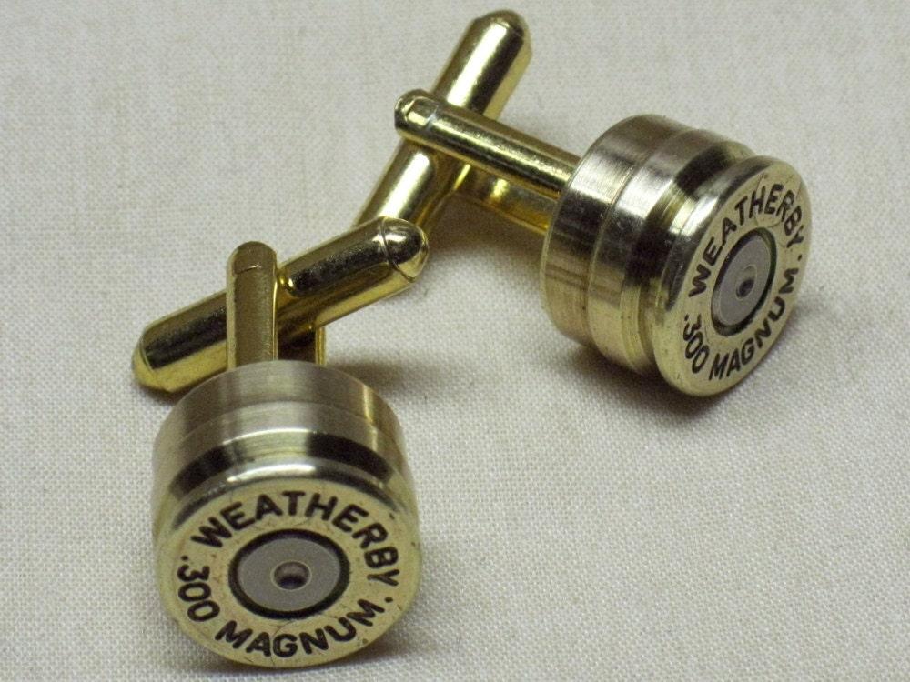 ... Cufflinks 300 Weatherby Magnum Brass Gold - Wedding Anniversary Gift